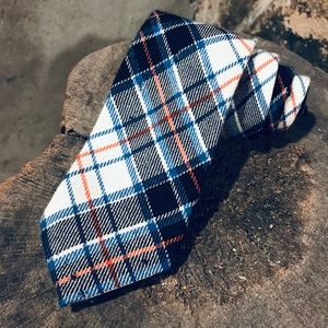 Macrae dress plaid wool tie orange blue red white